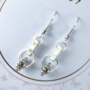 Silver Wheel Dangle Earrings